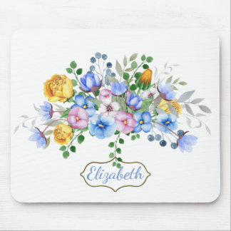 Pretty Blue Pansy Floral Personalized Mouse Pad