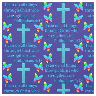 PRETTY BLUE PHILIPPIANS 4:13 FABRIC