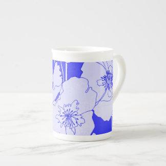Pretty Blue Poppies Modern Pop Art Tea Cup