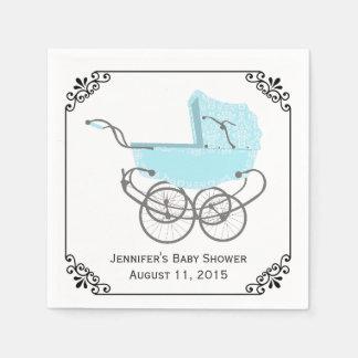 Pretty Blue Pram Custom Baby Shower Paper Napkins