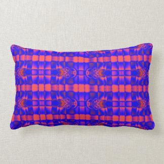 pretty blue red fractal pattern lumbar pillow
