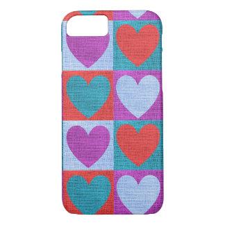 Pretty Blue Red Purple Hearts Burlap Texture Case