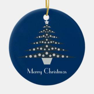 Pretty Blue Retro Christmas Tree Ornament