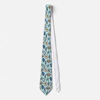 Pretty Blue Shell Starfish Sea Pattern Tie