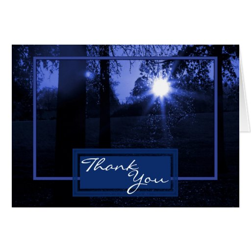 Pretty Blue Sunset Wedding Thank You Note Card