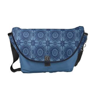 Pretty Blue Vintage Geometric Circles Courier Bags