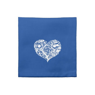 Pretty Blue & White Heart Napkin