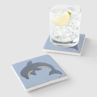 Pretty Blue white Jumping Dolphin Cool Swirl eye Stone Coaster
