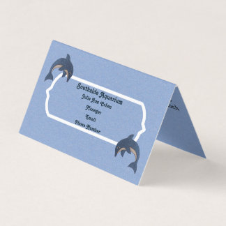 Pretty Blue White Jumping Dolphins on Light Blue Business Card