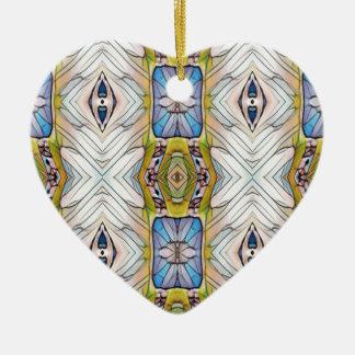 Pretty Blue Yellow Feathery White Pattern Ceramic Heart Decoration
