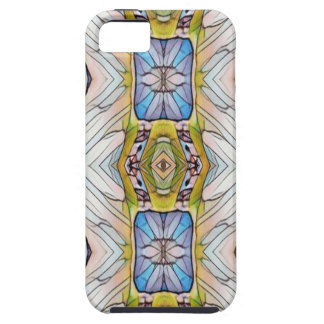 Pretty Blue Yellow Feathery White Pattern iPhone 5 Cases