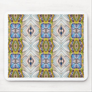 Pretty Blue Yellow Feathery White Pattern Mouse Pad