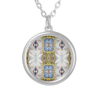 Pretty Blue Yellow Feathery White Pattern Silver Plated Necklace