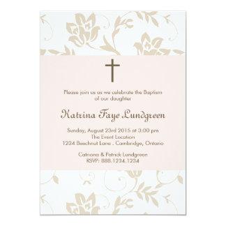 Pretty Blush Floral Pattern Baptism Invitation
