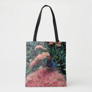 Pretty Blush Peach Flowers With Monarch Butterfly Tote Bag