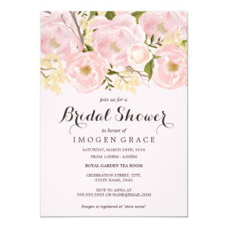 Pretty Blush Pink Floral Bridal Shower Invite