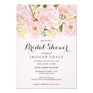 Pretty Blush Pink Floral Bridal Shower Invite