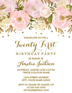 Pretty Blush Pink Gold Floral 21st Birthday Invitation