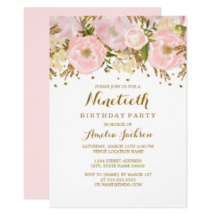 Pretty Blush Pink Gold Floral 90th Birthday Invitation