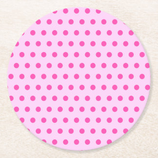 Pretty Blush Pink Polka Dot Round Paper Coaster