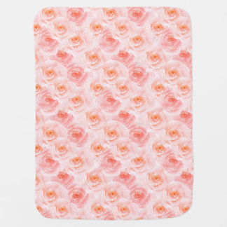 Pretty Blush Pink Watercolor Roses Baby Blanket