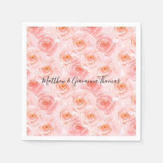 Pretty Blush Pink Watercolor Roses Paper Napkins