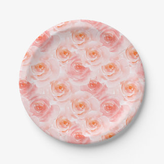 Pretty Blush Pink Watercolor Roses Paper Plate