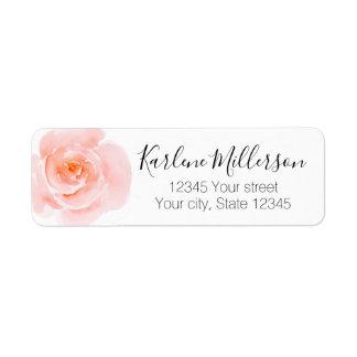 Pretty Blush Pink Watercolor Roses Return Address Label