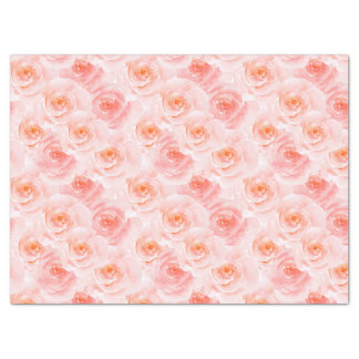 Pretty Blush Pink Watercolor Roses Tissue Paper