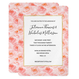 Pretty Blush Pink Watercolor Roses Wedding Invites