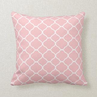 Pretty Blush Pink White Quatrefoil Pattern Cushion