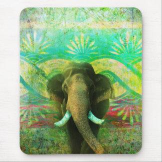 Pretty Bohemian Elephant Turquoise Tribal Pattern Mouse Pad