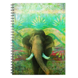 Pretty Bohemian Elephant Turquoise Tribal Pattern Spiral Notebook
