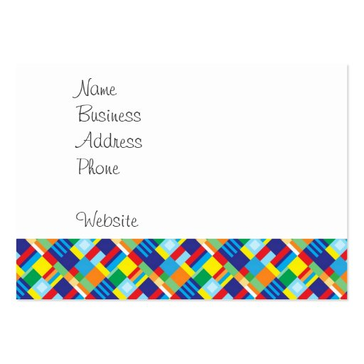 Pretty Bold Colorful Diagonal Quilt Pattern Business Card Template