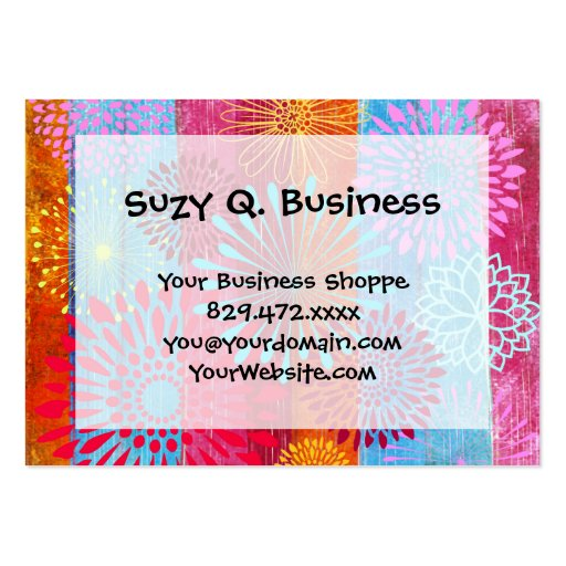 Pretty Bold Colorful Flower Bursts on Wide Stripes Business Card Templates