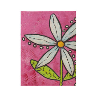 Pretty Bold White Daisy Leaves on Bright Pink Wood Poster