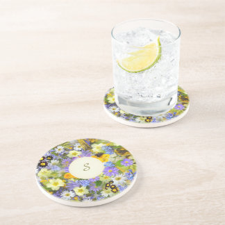Pretty Botanical Wildflowers Monogrammed Coaster