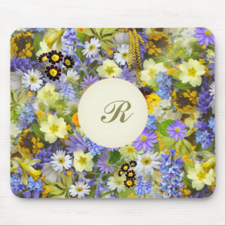 Pretty Botanical Wildflowers Monogrammed Mouse Pad