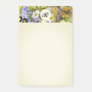 Pretty Botanical Wildflowers Monogrammed Post-it Notes