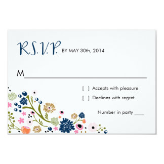 Pretty Bouquet Floral | R S V P Reply Card Navy Invitation