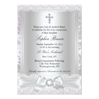 "Pretty Bow & Cross Baptism/Christening Invitation 5"" X 7"" Invitation Card"