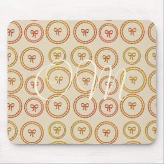 Pretty Bows Pattern Beige Add Initials Mousepad