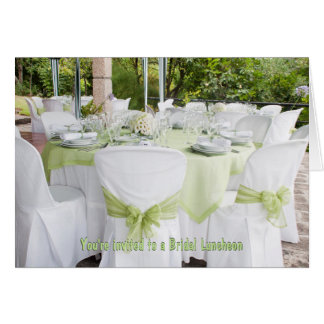 Pretty Bridal Luncheon white with sage green Card