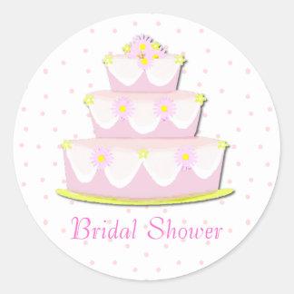 Pretty Bridal Shower Envelope Seal Round Sticker