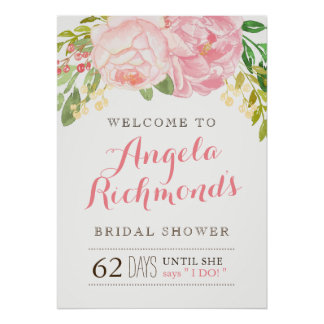 Pretty Bridal Shower Welcome Sign (20x28)