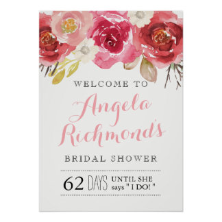Pretty Bridal Shower Welcome Sign (20x28) Poster