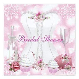 Pretty Bridal Shower White Pink Corset Floral 13 Cm X 13 Cm Square Invitation Card