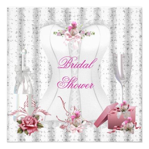 Pretty Bridal Shower White Pink Corset Floral 2 Personalized Invites