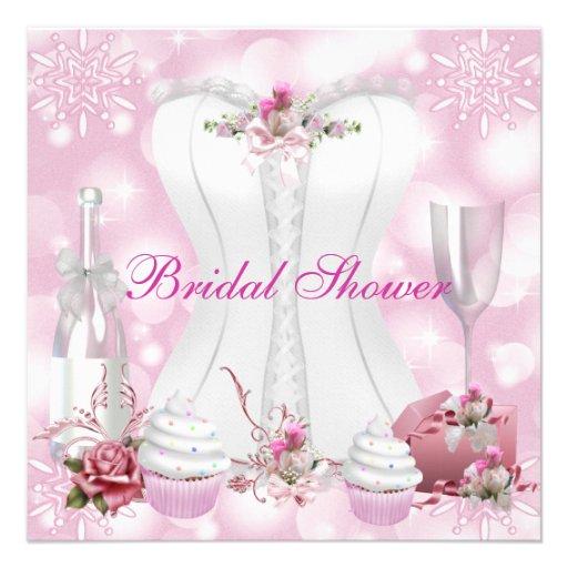 Pretty Bridal Shower White Pink Corset Floral Personalized Invitation