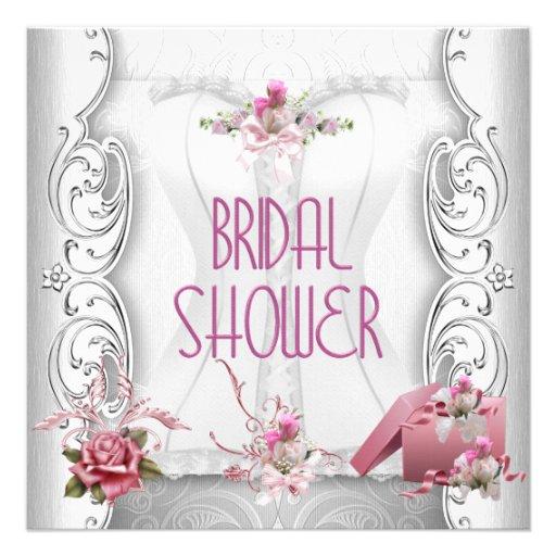 Pretty Bridal Shower White Pink Corset Floral Personalized Invitations